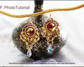 DIY Photo Tutorial Eng-ITA *Freyria* Earrings ,PDF Pattern 83 with dome,O beads,Pinch beads,swarovski&seed beads,instructions,bead weaving