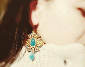 Photo Tutorial ENG- Ita ,DIY earrings,*Azhara* earrings ,PDF Pattern 54 with swarovski,superduo,drops and seed beads