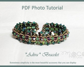 Photo Tutorial ENG-ITA ,DIY Bracelet,*Adiva* bracelet ,PDf Pattern 39 (with tila,half tila,swarovski,seed beads)