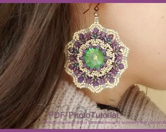 Photo Tutorial ENG- ita ,DIY earrings,*Alita* earrings ,PDF Pattern 50 with rivoli, swarovski,O bead and seed beads