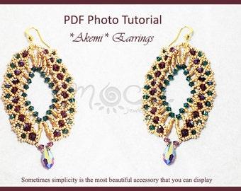 Photo Tutorial  eng-ita  ,DIY Earrings,*akemI* earrings ,pdf Pattern 32
