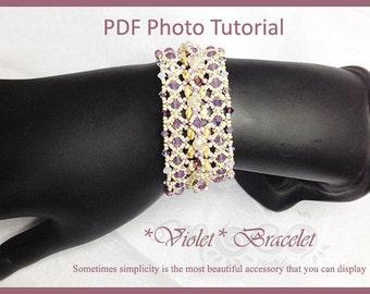 Photo Tutorial ENG- Ita,DIY bracelet,*Violet* bracelet ,PDF Pattern 41 with superduo,swarovski,fire polished,seed beads,