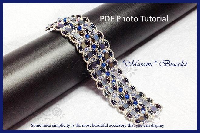 Photo Tutorial ENG- ITA ,DIY Bracelets,Masami bracelet,PDf Pattern 33