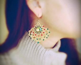 Photo Tutorial ENG- Ita ,DIY earrings,*Oriente* earrings ,PDF Pattern 49 with swarovski,cabochon,rivoli,half tila and seed beads