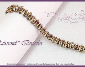 Photo Tutorial ENG-Ita ,DIY bracelet,*Aranel* bracelet ,PDF Pattern 55 with swarovski,half tila and seed beads