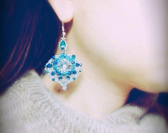Photo Tutorial ENG-Ita ,DIY earrings,*Aki* earrings ,PDF Pattern 53 with swarovski,cabochon,rivoli and seed beads