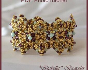 DIY Photo Tutorial Eng-ITA ,*Isabella* bracelet ,PDF Pattern 63 with quadratile, swarovski ,seed beads,