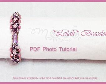 Photo Tutorial Eng-ITA ,DIY bracelet,*Leilah* bracelet ,PDF Pattern 45 with Pinch beads,swarovski,fire polished,seed beads,