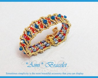 Photo Tutorial ENG- Ita ,DIY bracelet,*Aimi* earrings ,PDF Pattern 4e with swarovski,fire polished,superduo and seed beads