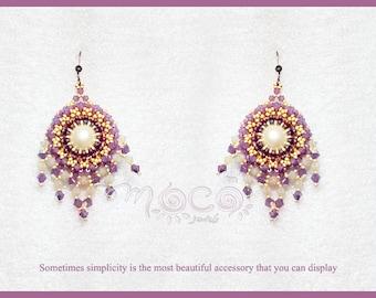 Photo Tutorial ENG-Ita ,DIY earrings,*Hea* earrings ,PDF Pattern 58 with swarovski, pearls, and seed beads