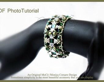 DIY Photo Tutorial Eng-ITA ,*Kiyo* bracelet ,PDF Pattern 68 with khéops, swarovski ,seed beads,instructions