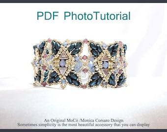 DIY Photo Tutorial Eng- ITA ,*Asiya* bracelet ,PDF Pattern 66 with khéops, swarovski ,superduo,seed beads,