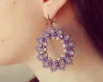 Photo Tutorial ENG- ita ,DIY earrings,*Bluma* earrings ,PDF Pattern 47 with swarovski,fire polished and seed beads