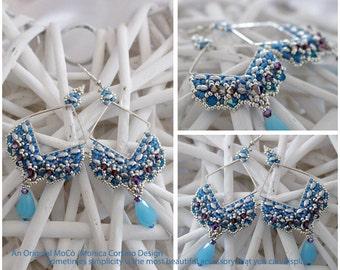 DIY Photo Tutorial Eng-ITA *Oyku*Earrings,PDF Pattern 100 with Miniduo,swarovski and seed beads,instructions,beadweaving