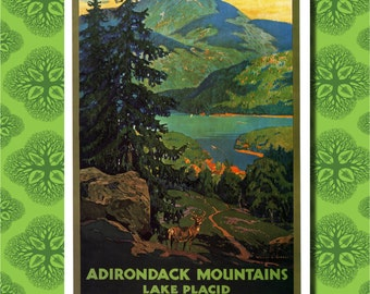Adirondack Mountains Lake Placid Travel Poster Wall Decor (7 print sizes available)