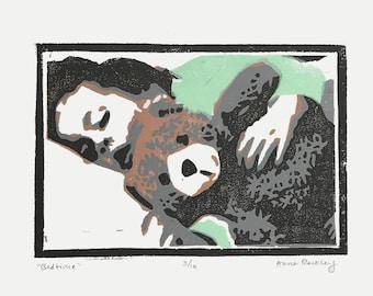 Bedtime Bear Print, 4x6 linocut print, Nursery decor