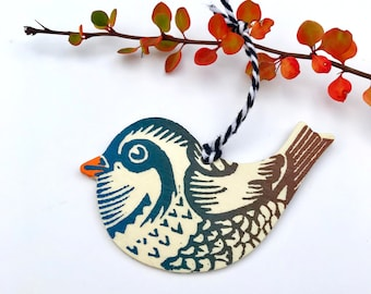 Partridge Ornament/Wooden/Gift Tags/Handprinted/Linocut