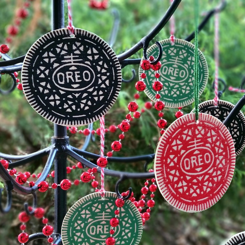 Wooden Oreo Ornaments Pack Of 3 Linocut Handprinted