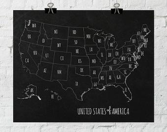 USA Chalkboard Map Classroom Decor, Back To School Printable, America Wall Art, Printable Art, Instant Digital Download- ADOPTION FUNDRAISER