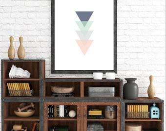 Arte de pared minimalista escandinavo, triángulo Print, impresión geométrica, impresión del arte moderno, decoración para el hogar, abstracta de pared lámina de arte, arte de triángulos