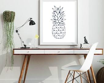 Blue Decor, Navy Pineapple, Beach House Decor, Tropical Decor, Pineapple Decor, Downloadable Prints, Beach Decor, Art Printables