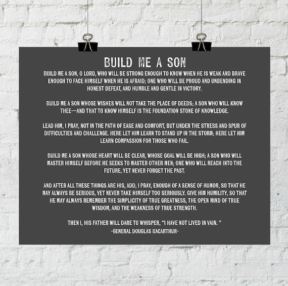 Inspirational Quote Build Me A Son Gift For Son Father Of Etsy
