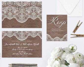 Lace & Wood Wedding Invitations / Shabby Chic Weddings or Rustic Weddings / Vintage-Inspired Invites / PRINTED Wedding Cards