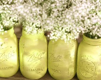 Mason Jars in Chartreuse Green / Shabby Chic Distressed Paint Glass Jar Wedding Decoration / Wedding Centerpiece for Garden Weddings