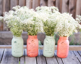 Shabby Chic Mason Jars / Distressed Paint Glass Jar Wedding Decoration / Robin Egg Blue and Coral Pink
