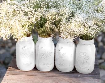 Vintage Weddings / Distressed Mason Jars for Vintage White Weddings / Wedding Decoration / Wedding Centerpiece for French Parisian Weddings