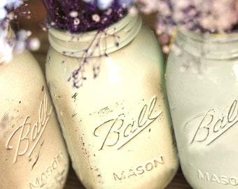Rustic Chic Weddings - Distressed Mason Jars / Wedding Decoration / Wedding Centerpiece in Ecru or Beige