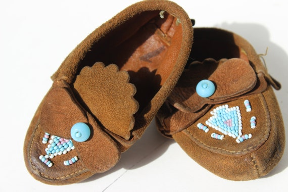Vintage Baby Moccasin Suede Beaded Turquoise Real