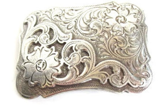 1994 Silver tone belt buckle western floral beauti