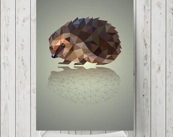 Hedgehog modern wall art print, animal graphic art print, animal wall art print, animal wall decor, modern art graphic design print