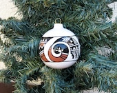 Hand Painted Ornament Southwestern Geometric Abstract Ceramic Holiday Christmas Ball Desert Southwest Ornament #899C