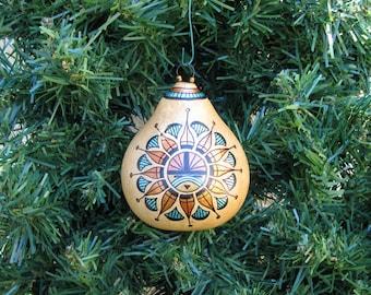 Gourd Ornament Sun Southwestern Hand Painted Christmas Ornament Desert Southwest Glass Beads Earth Colors # 633