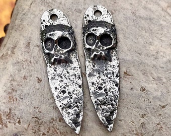 Polished Skull Dagger Charms, 31mm, Handmade Artisan Jewelry Making Components, DIY Crafting Supplies, Hand Cast Pewter Metal 174-CP