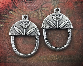 Flower Connector Charms, 23mm, Handcrafted Jewelry Making Supplies, Artisan, Handmade Pewter Charms 199-CD