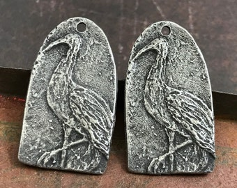 Crane Charms, Bird, Aged Finish, 27mm, Jewelry Charms, Pewter Components, Handmade Crafting Jewelry Supplies, DIY, Artisan 373-CD