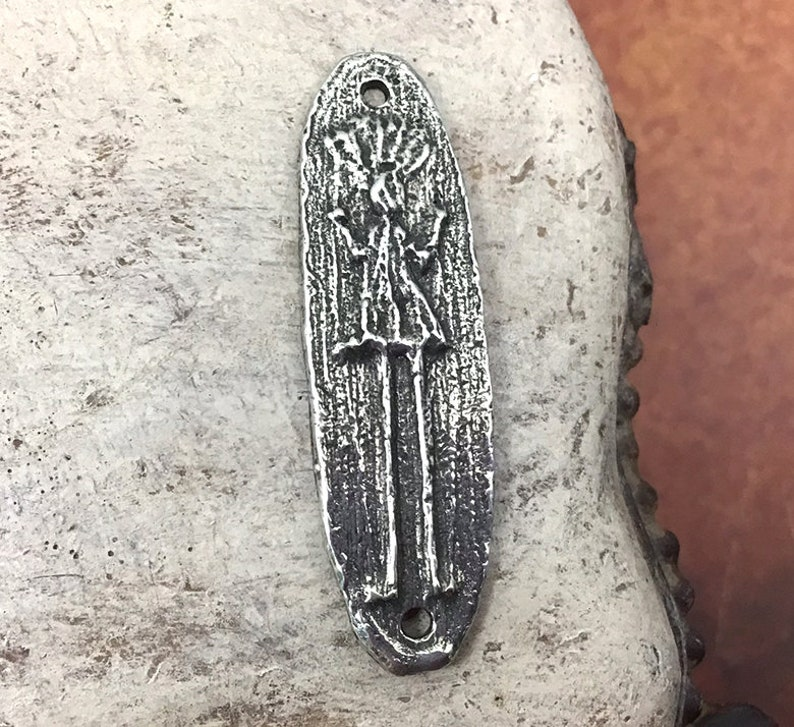 Handcast Pewter Jewelry Making 87-BP Artisan Handcrafted Jewellery No Polished Figure Connector or Bracelet Focal Handmade Components