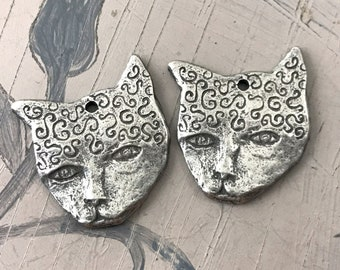 Cat Charms, Handcrafted, Aged Finish, 18mm, Handmade Artisan Jewelry Making Components for Dangle Drop Earrings, DIY, Artisan 334-CD