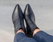 Black Snakeskin Booties, Stylish Leather Snake Print Ankle Boots, Woman Boots, Black Boots Woman, Black Boots,  Ankle Boots,  Boots Woman