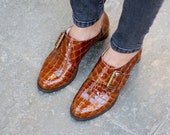 Shiny Brown Monk Shoes, Stylish Crocodile Shoes, Handmade Round Heel Shoes, Women Fine Leather Shoes