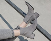 Women Gray Ankle Leather Boots, Pointy Handmade Ankle Booties with Side Zipper, Casual Comfortable Booties