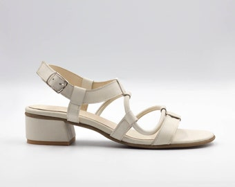 White Strappy Sandals, Leather Sandals, Handmade Sandals, Summer Flats, White Summer Shoes, Side Buckle Sandals, Slip On Sandals