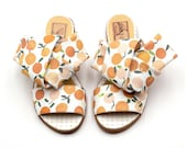 Sandals Women, Sandals Designer, Slip on Sandals, Flat Sandals women, Greek Sandals, Summer Fashion Ladies Shoes, Handmade, Orange Print