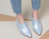 Sky Blue Leather Oxford Shoes, Trendy Handmade Shoes, Block Heel Shoes with Laces, Dressy Shoes For Women
