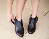 Women Black Ankle Boots, Block Heels Ankle Booties, Criss Cross X Leather Booties, Elegant Ladies Ankle Boots, Winter Booties