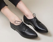 Black Oxfords, Women Oxford Shoes, Lace Up Shoes, Formal Office Shoes, Black Flat Leather Shoes, Casual Oxford Shoes