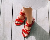Women Red Suede Leather Strappy Sandals with Comfortable Heels, 4cm Heels Leather Sandals